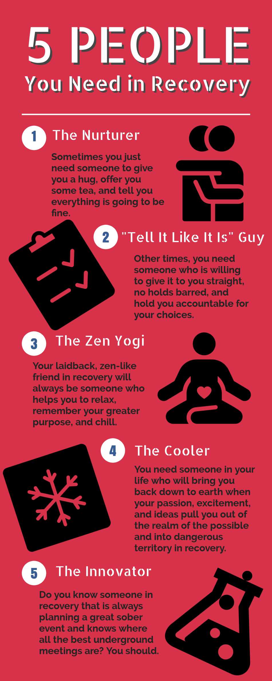infographic on types of people you need in recovery