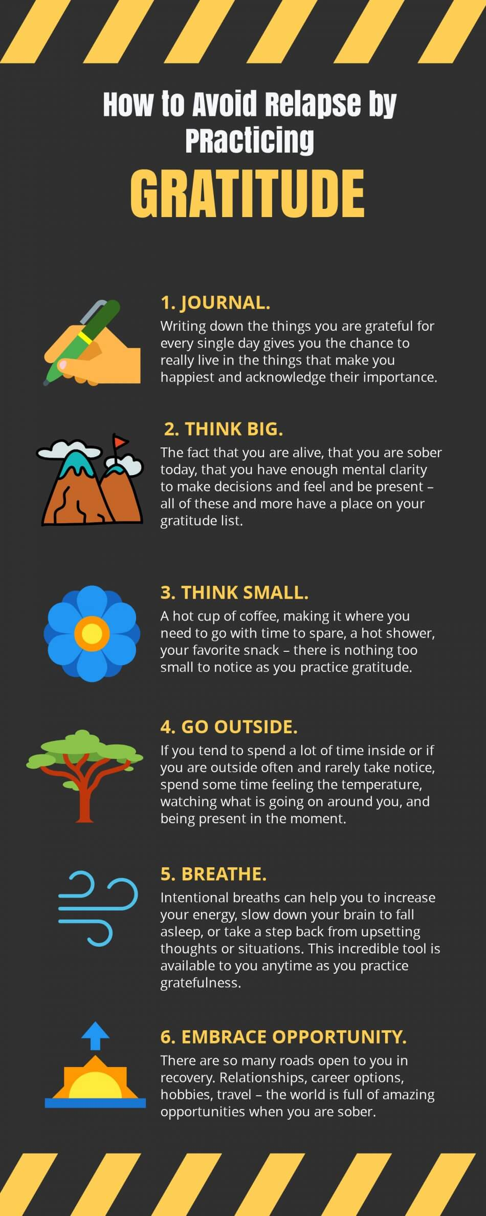 Infographic of six steps on how to avoid relapse by practicing gratitude